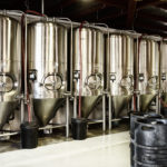 Interior views of small micro brewery processing and storage